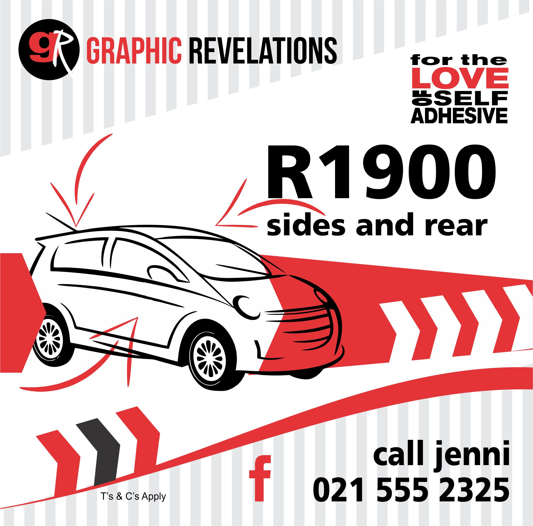 Brand the sides and back of your car for only R1900